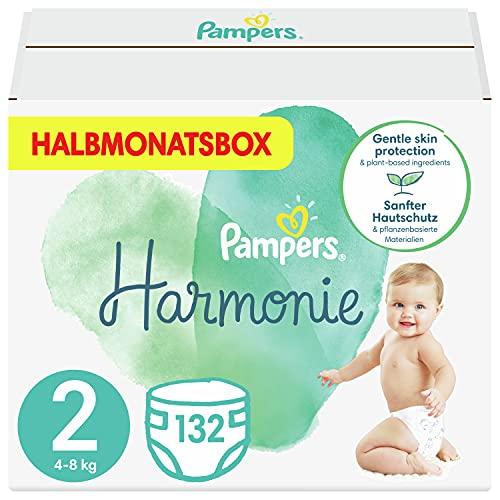 Pampers Größe 2 Harmonie Baby Windeln, 132 Stück, HALBMONATSBOX, Mit Premium-Baumwolle Und Pflanzenbasierten Materialien (4-8 kg)