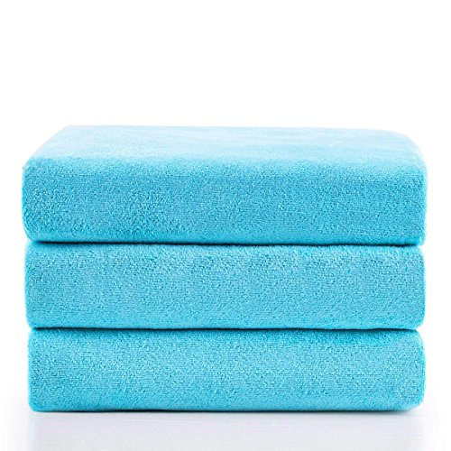 "JML Microfiber Bath Towels, Bath Towel 3 Pack(27"" x 55""), Soft, Super Absorbent and Fast Drying, Multipurpose Use for Sports, Travel, Fitness, Yoga - Sky Blue"