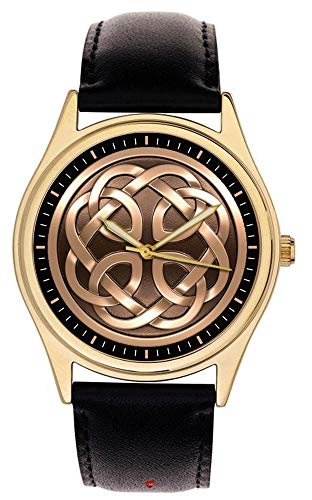 Beautiful Vintage Celtic Knots Pattern Medieval Art Collectible Solid Brass Wrist Watch