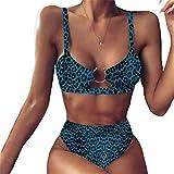XWWS Conjunto De Bikini Sexy Bikini con Estampado De Serpiente De Leopardo Bikini Sin Espalda Mujer Traje De Baño De Cintura Alta Traje De Baño Bandeau Biquini Conjunto De Bikini Femenino,5,S