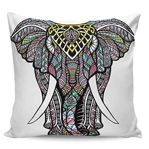 Funda de cojín decorativa de Winter Rangers, estilo bohemio, diseño abstracto de elefante, ultra suave, cómoda funda de cojín cuadrada, para sofá o dormitorio, peluche corto, Diseño de elefante 3wrs4292, 26' x 26'=65 x 65cm