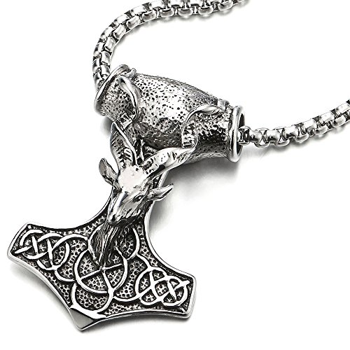 COOLSTEELANDBEYOND Large Steel Mens Thors Hammer Pendant Necklace with Goat Head and Irish Celtic Knot, 30 Inches Chain