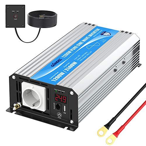 24V Reiner Sinus Wechselrichter 1200W Spannungswandler 24V auf 230V Power Inverter mit Fernbedienung und LED-Anzeige 2.4A USB-Anschluss AC-Steckdose für RV Auto Notfall GIANDEL