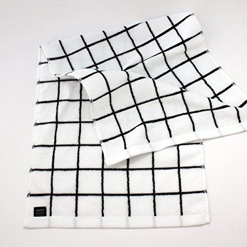 シスデザインフェイスタオル今治産で吸水性抜群おしゃれなグラフチェック柄(ホワイト)34×80cm