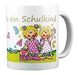 Lutz Mauder Verlag Schulkind Tasse mit Wunsch Namen zur Einschulung - Schulmädchen Becher