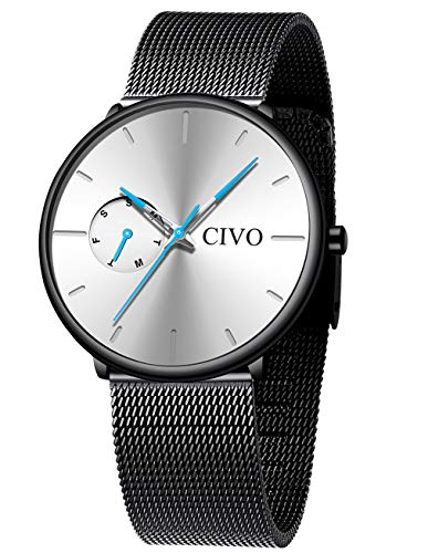 CIVO Relojes Hombre Ultra Fino Militar Negro Acero Inoxidable Impermeable Relojes de Pulsera Deportivo Analogicos Fecha Esfera Blanco