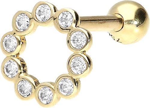 PIERCINGLINE 750er GOLD Ohrpiercing | 18 KARAT | KRISTALL RING | Piercing Tragus Helix Conch | Farbauswahl