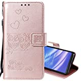 EnjoyCase Wallet Case for Galaxy M10,Cut Funny Embossed Flower Owl Premium PU Leather Wrist Strap Magnetic Closure Bookstyle Protective Flip Cover for Samsung Galaxy M10