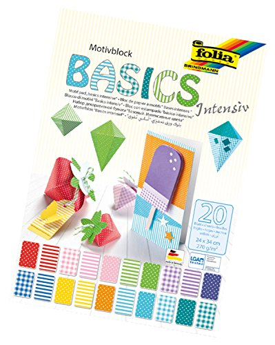 folia 48249 - Motivblock Basics Intensiv, 270 g/qm, ca. 24 x 34 cm, 20 Blatt sortiert in verschiedenen Motiven - zum Basteln und kreativen Gestalten von Karten, Fensterbildern und für Scrapbooking
