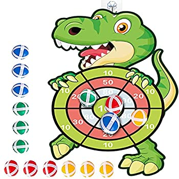 Dinosaur Games,30 inch Dinosaur Dartboard Target Games with 12 Ticky Balls &Hook Safe & Classic Toys for Toddler Kids Birthday Gifts for 3-7 Year Old,Field Day Games
