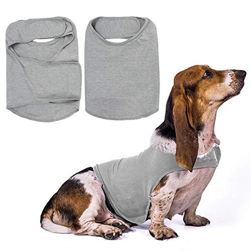 Fdit Camisa Anti ansiedad para Perros Ropa para aliviar el estrés de Las Mascotas Chaleco Envolvente para Mascotas Chaqueta para Perros Thunder con Gancho y Tira Reflectante(M)
