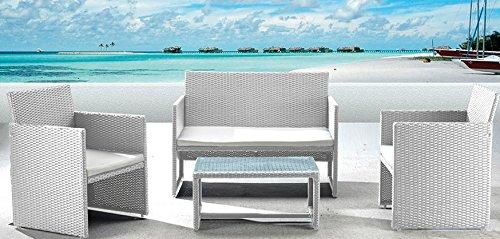Salotto valencia Colore bianco 2 poltrone 1 divano 1 tavolo.