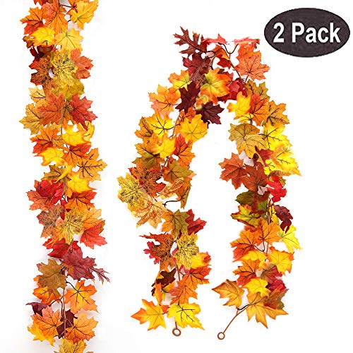 Myfolrena 2-Pack Fall Garland Maple, 5.9ft Artificial Hanging Fall Leaves Garland Vines Christmas Halloween Thanksgiving Decor for Home Wedding Party