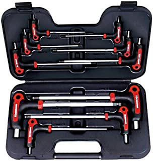AMPRO T22902 Standard T Handle Ball Point and Hex Wrench Set, 10-Piece