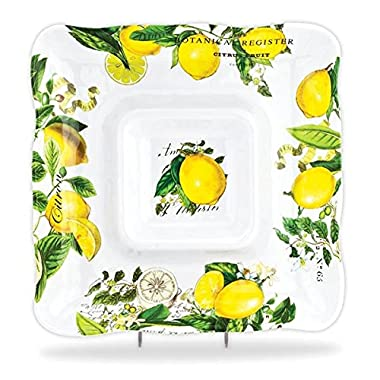 Michel Design Works Melamine Chip and Dip Serving Tray, Lemon Basil