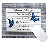 Wknoon Gaming Mouse Pad Custom Design Love Quotes Blue Butterfly on Vintage Grey Wood, Whisper I Love You to a Butterfly and it Will Fly to Heaven to Deliver Your Message