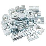 BiuZi Tuerca Deslizante 20 Piezas Tuerca de Cabeza de Martillo Tipo 40 Tuerca Deslizante de Acero al Carbono Cincado Accesorios de Perfil de Aluminio (M6, M8) (tamaño : M8)