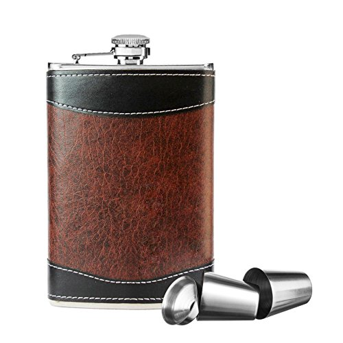 Pocket Hip Flask 8 Oz with Funnel Leak Proof, New Scale 18/8 Stainless Steel Flask for Liquor for Men Women Matte Black Classic Flask Great Gift 100% Leak Proof for Discrete Liquor Shot Drinking,Brown