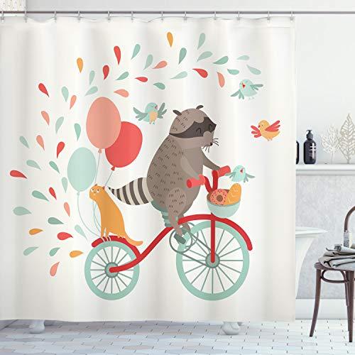 ABAKUHAUS Tier Duschvorhang, Netter Waschbär auf Fahrrad, mit 12 Ringe Set Wasserdicht Stielvoll Modern Farbfest & Schimmel Resistent, 175x200 cm, Mehrfarbig