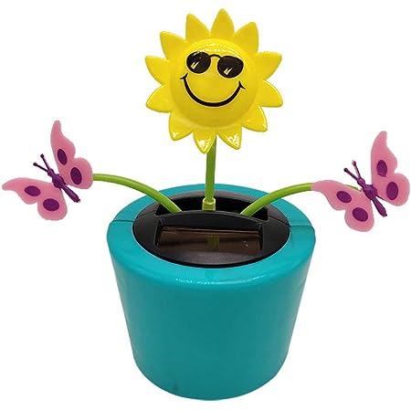 Solar Powered Dancing Flower Eco-Friendly Solar Powered Car Swinging Toy Windowsill Decoration Holiday Dashboard Office Home Desk Decor