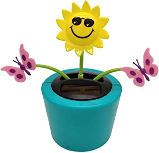 Solar Dancing Flowers Car Windowsill Decoration, Cute Solar Powered Daisy Bobble Head Dancing Toy Swinging Animated Dancer Dolls Shaking Head Sunflower Car Dashboard Office Desk Home Decor (F)