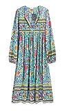 R.Vivimos Women's Long Sleeve Floral Print Retro V Neck Tassel Bohemian Midi Dresses (Small, Green)