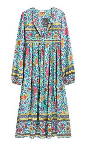 R.Vivimos Women's Long Sleeve Floral Print Retro V Neck Tassel Bohemian Midi Dresses (XL, Green)