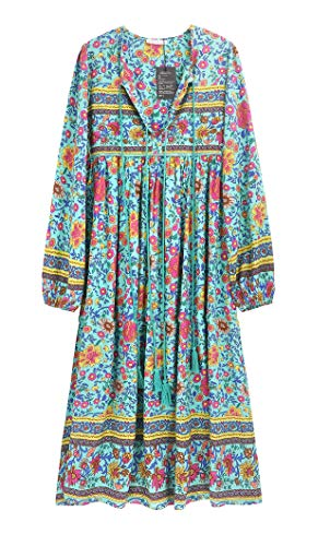 R.Vivimos Women's Long Sleeve Floral Print Retro V Neck Tassel Bohemian Midi Dresses (Large, Green)