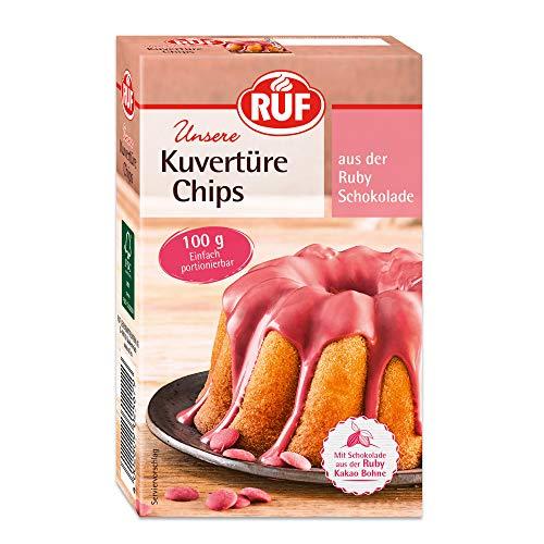 RUF Ruby Kuvertüre Chips rosa mit Schokolade aus der Ruby Kakao-Bohne, 100 g