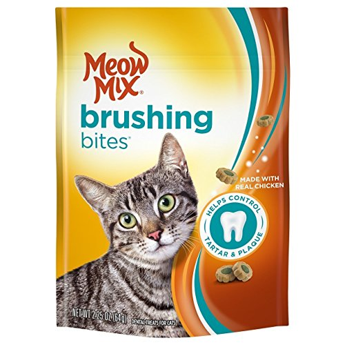 Meow Mix Brushing Bites Dental Cat Treats, Chicken Flavor, 2.25oz (Pack of 2)