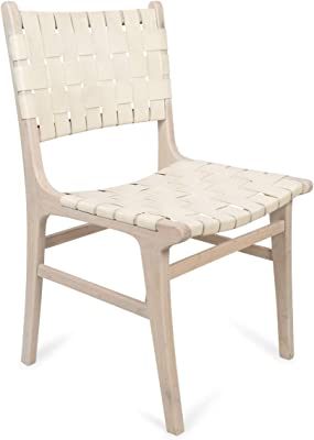 Boho Traders Dining Chair with Wooden Legs Leather Weave Dining Chair with Wooden Legs, Ivory/SoftWhite
