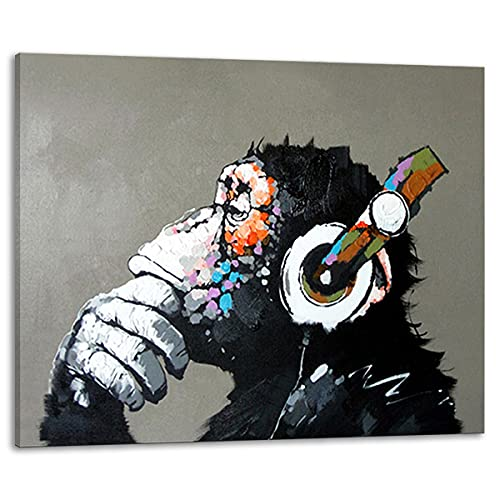 Muzagroo Art Music Monkey with Headphone Oil Paintings Hand Painted on Canvas Wall Art for Living Room Chimps Media Room Art M
