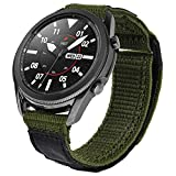 V-MORO Nylon Strap Compatible with Galaxy Watch 3 45mm Band/Galaxy Watch 46mm Bands/Gear S3 Frontier Band Men Breathable Woven Loop Replacement for Samsung Galaxy Watch3 45mm/Galaxy Watch 46mm/Gear S3 Army Green
