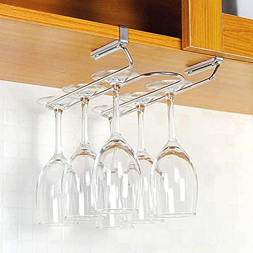 FEXINT Estante de vidrio de vino de acero inoxidable para copas de vino, estante para bar, cocina, armario