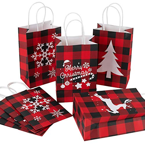 Joy Bang Christmas Red and Black Buffalo Plaid Gift Bags 12PCS Christmas Treat Bags Xmas Paper Party Bags for Candy Christmas Gift Bags Bulk with Handles for Christmas Party Supplies