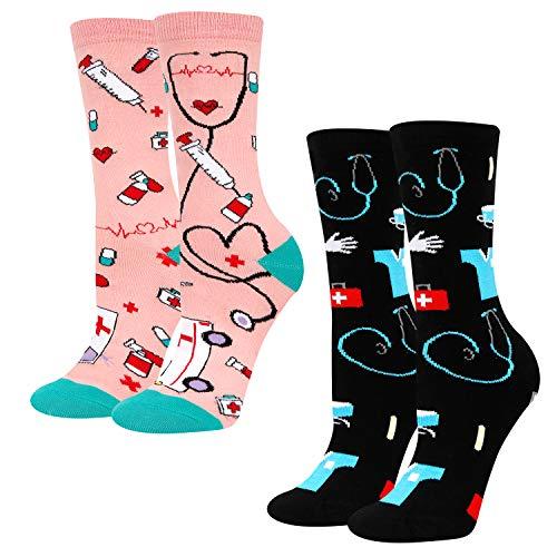 HAPPYPOP Nurse Socks Women, Funny Doctor Gift For Medical Student Assistant RN Nursing School in 2 Pack