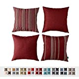 HPUK Set of 4, Decorative Pillow Cover, Stripe and Solid Color Pillowcase for Couch, Sofa, Bedroom, Car, Office, Holiday Decor,17'x17, Red