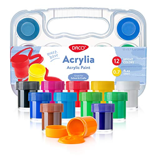 DACO Kids Paint Set Acrylia, 12 Colors of 0.7 fl.oz (20ml/jar), Acrylic Paint Set with Storage Box, Can be Used for Rock Painting, as Wood Paint or Finger Paint, School Supplies for Arts and Crafts