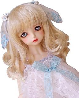 ドールウィッグ 髪 巻き毛1/6 1/4 1/3 カラーミックス セミロング 人形用ウィッグ 髪 耐熱 180℃ 高温ウィッグ アクセサリー (1/4ドール, ゴールド)