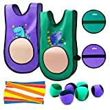 INPODAK Dodgeball Tag Game for Kids, Stick Target Tag Vests Kit, Toss and Catch Ball Game Set, Indoor and Outdoor Party Activity Game