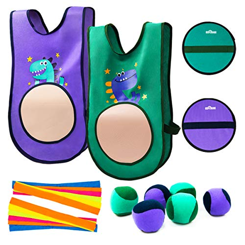 INPODAK Target Tag Vests, Self Stick Dodge Ball Set, Catch and Toss Ball Game, Indoor and Outdoor Party Activity Toy Kid Child