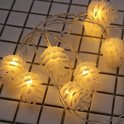 CFLFDC lichtsnoer, voor kerst, sneeuw, sneeuw, batterijbox, ketting, batterij, 5 m, 50 cm, lichtwit