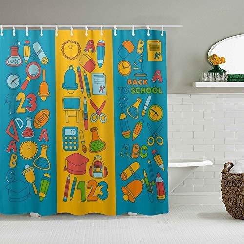 USOPHIA Personalisierter Duschvorhang,ABC Alphabet Numbers Back to School,wasserabweisender Badvorhang für das Badezimmer 180 x 180cm