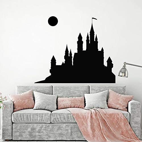 Fotobehang sprookje middeleeuws kasteel volle maan kinderen kinderen meisjes meisjes slaapkamer babykamer woondecoratie vinyl raamsticker muurschildering 63x51cm