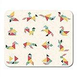 Alfombrillas de ratón tangram en una colección de figuras compuestas animales avión casa barco cohete alfombrilla de ratón geométrica infantil colorida para portátiles, Alfombrillas de escritorio mate