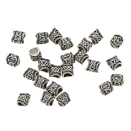 Hellery Beard Beads for Men,24 Piece Vikings Runes Beads Norse Dreadlock Beads Hair Tube Beads, for Men Women Braiding Ties