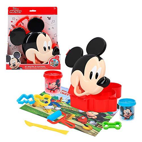 Disney - Plastilina barattoli Giochi plastilina Bambini 3 Anni Plastilina Infantile con Accessori e stampi plastilina atossica Morbida Plastilina Valigia Topolino Mouse