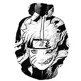 BAIMORE Naruto 3D Digital Print Japanese Anime Hoodie Sweatshirt Coat Pullover Black