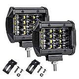 LTPAG 2pcs Faro Trabajo Led, 4' 72W 14400LM Focos LED Tractor 12V-24V 6000K Focos LED para Tractores IP68 Impermeable Luz de Niebla Coche,SUV, UTV, ATV, Off-road,Camión,Moto,Barco - Garantía de 2 años