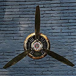 WRUJ Airplane Propeller Wall Decor, Metal Vintage Industrial Wall Art Clock, Aviation Pilot Gifts, Office/Bedroom Home Wall Sculptures, L70×H65CM